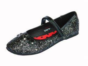 Girls Black Glitter Ballet Pump Party Shoes