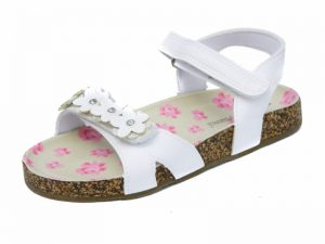 Chatterbox Flossy Girls White Footbed Sandals Toddlers White Sandals