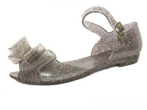 Pink glitter jelly sandals