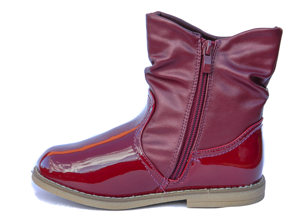 NEW Toddler Girls Burgundy Patent Ankle Boots Fur Lined UK