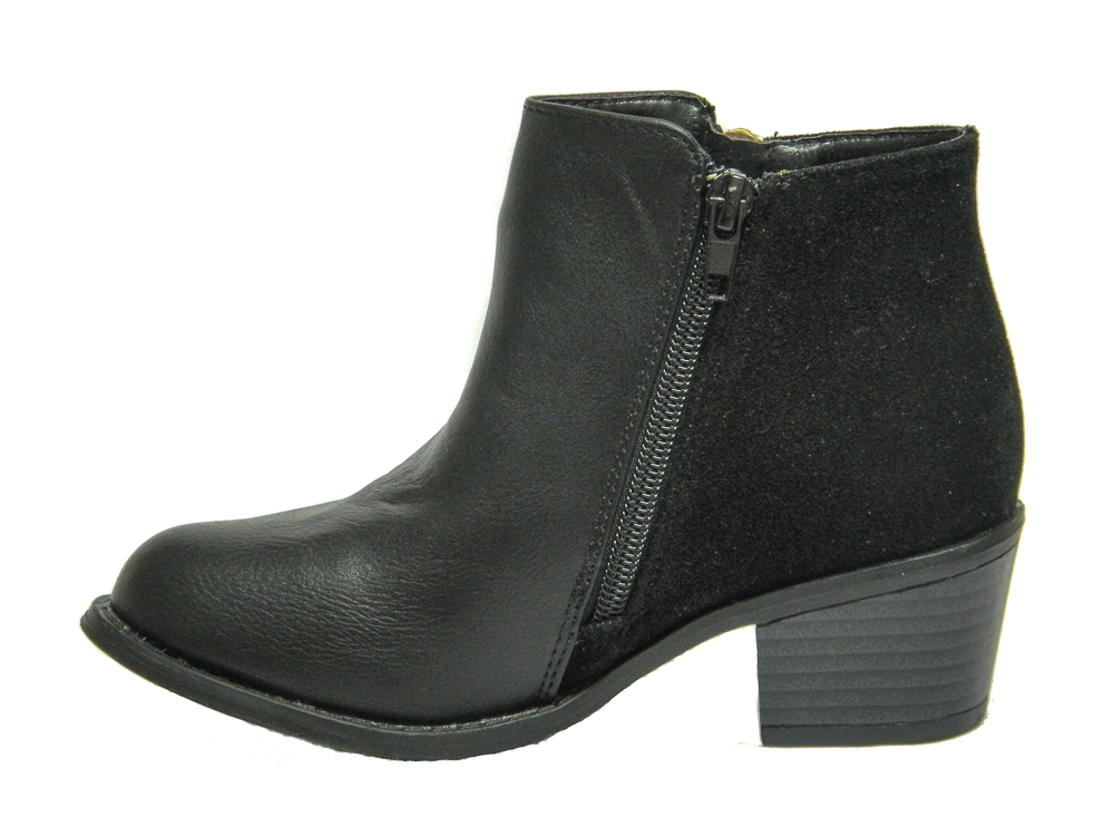 Miss Riot Girls Black Faux Leather Fashion Ankle Boots