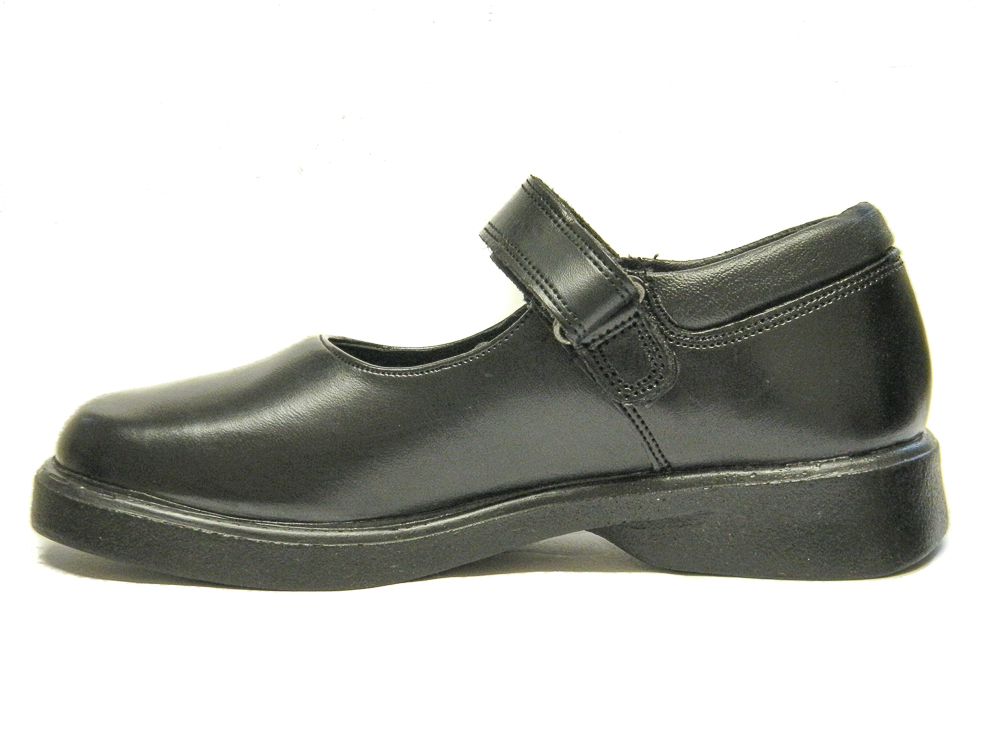 Toughees Girls School Shoes Black Leather Kids