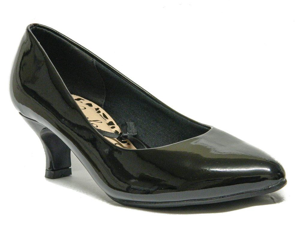 Womens Black Court Shoes Low kitten Heel Wide Fit Size 3 4 5 6 7