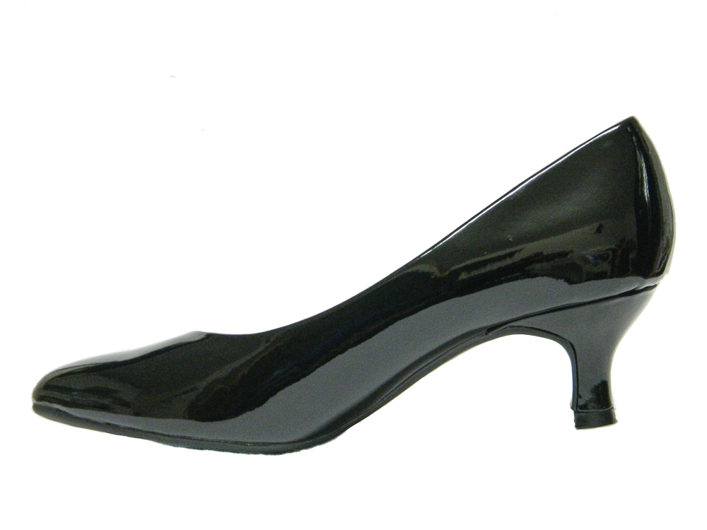 Black Wide Fit  Inch Court Shoes