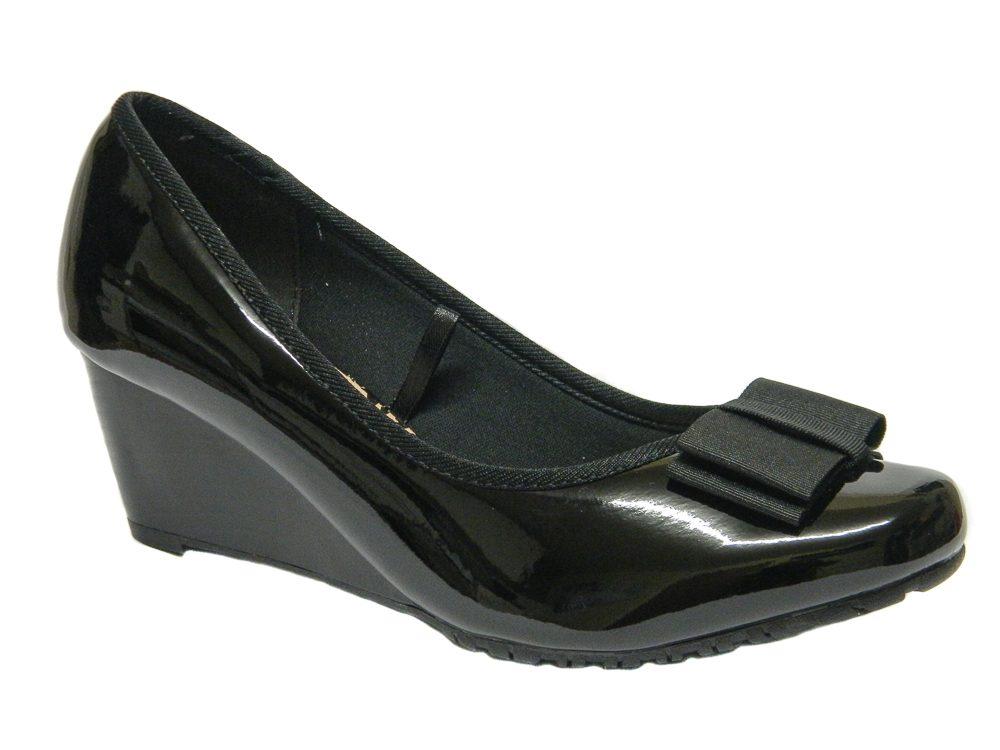 Arvada Women Ladies Wedge Shoes UK Size 3 4 5 6 7 8 Black Patent Colour