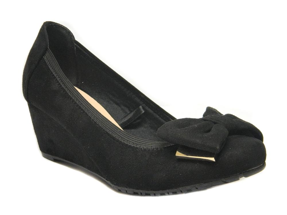 Ellie Women Ladies Wedge Shoes UK Size 3 4 5 6 7 8 Black Suede Colour