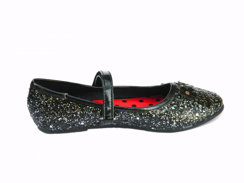Girls black Glitter Shoes