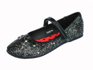 Girls Black Glitter Ballet Pump Party Shoes