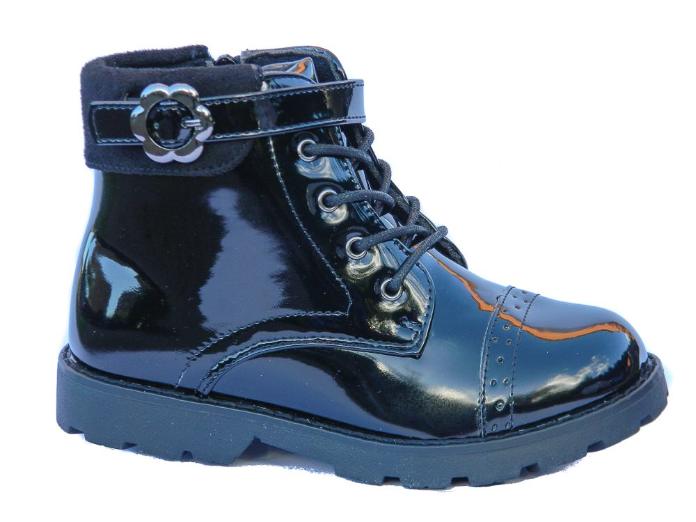 Chatterbox Toddler Girls Black Patent Ankle Boots