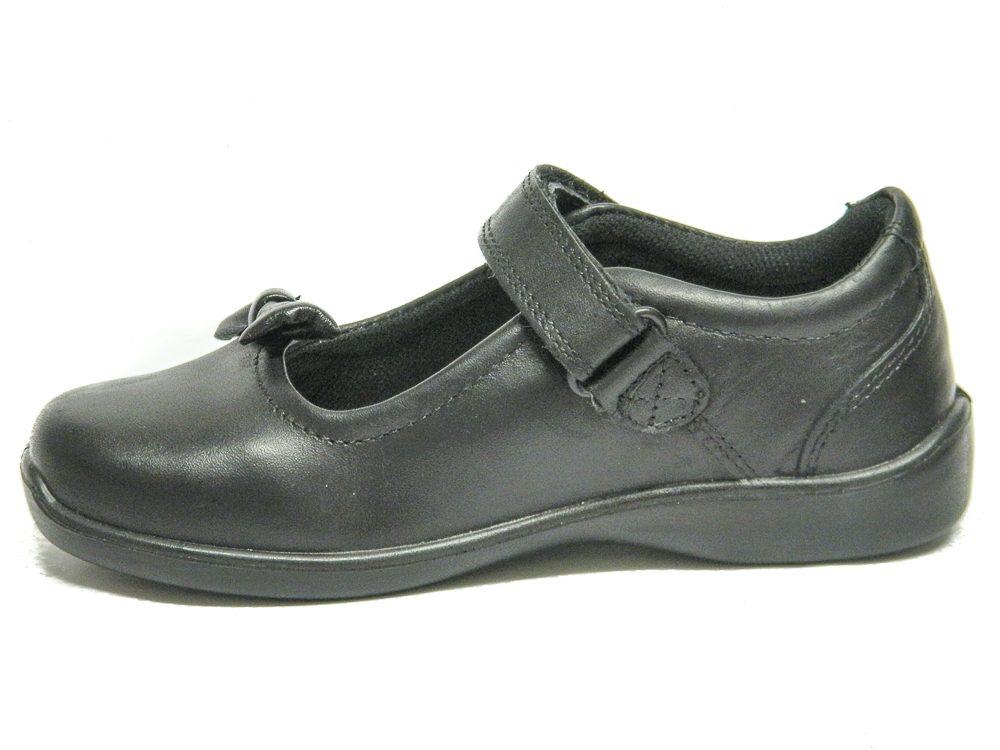 B.M.S Girls Black Leather School Shoes