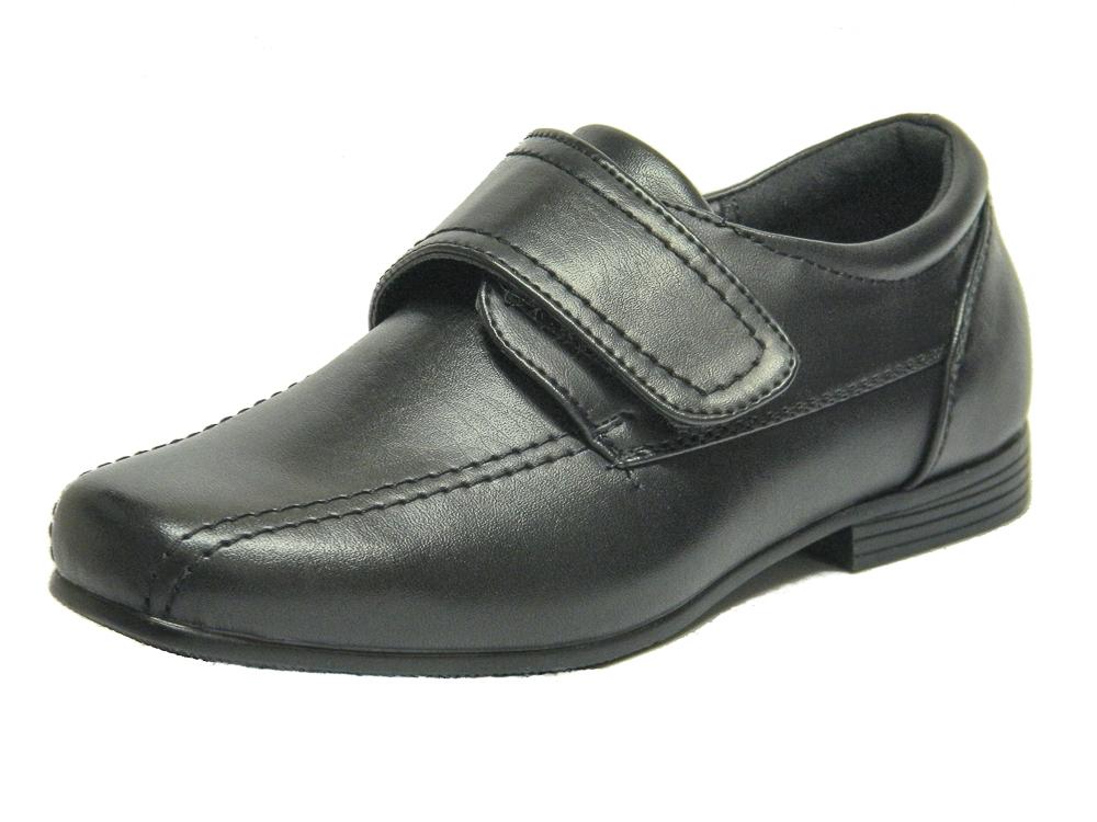 b016e92991b Infant Boys Black Smart Formal Velcro School Shoes