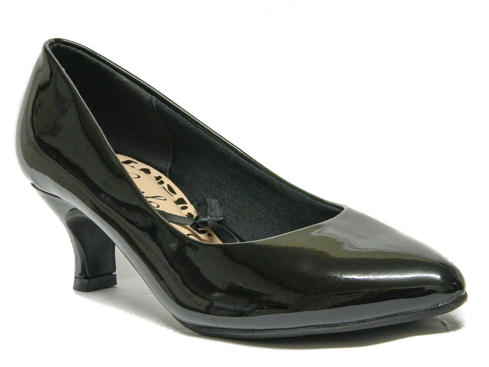 dbdbb351f0d7 Womens Black Court Shoes Low kitten Heel Wide Fit Size 3 4 5 6 7