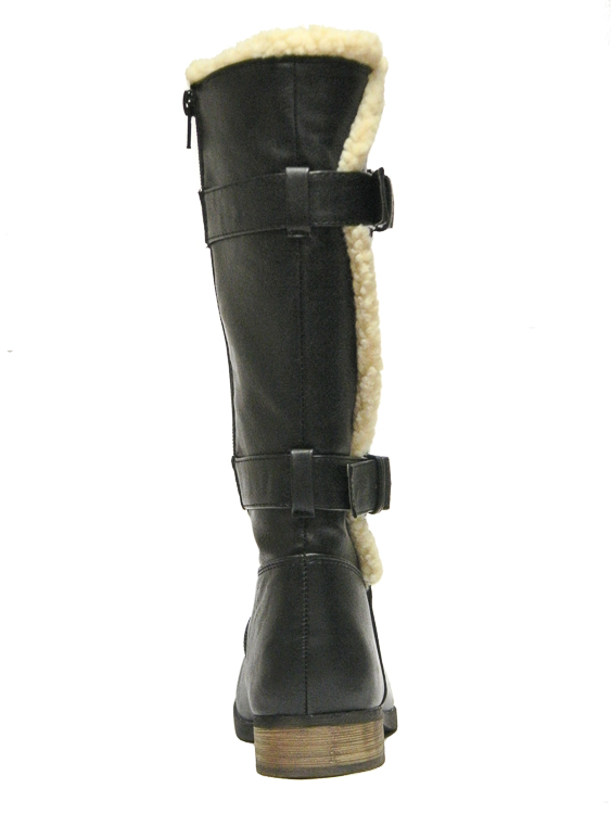 Girls Mid Calf Black Boots For Older