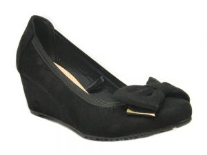 Ellie Women Ladies Wedge Shoes UK Size 3 4 5 6 7 8 Black Suede Colour