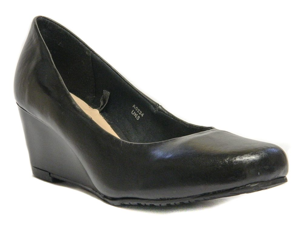 Margo Women Ladies Wedge Court Wide Fitting Shoes UK Size 3 4 5 6 7 8 Black Leather Colour